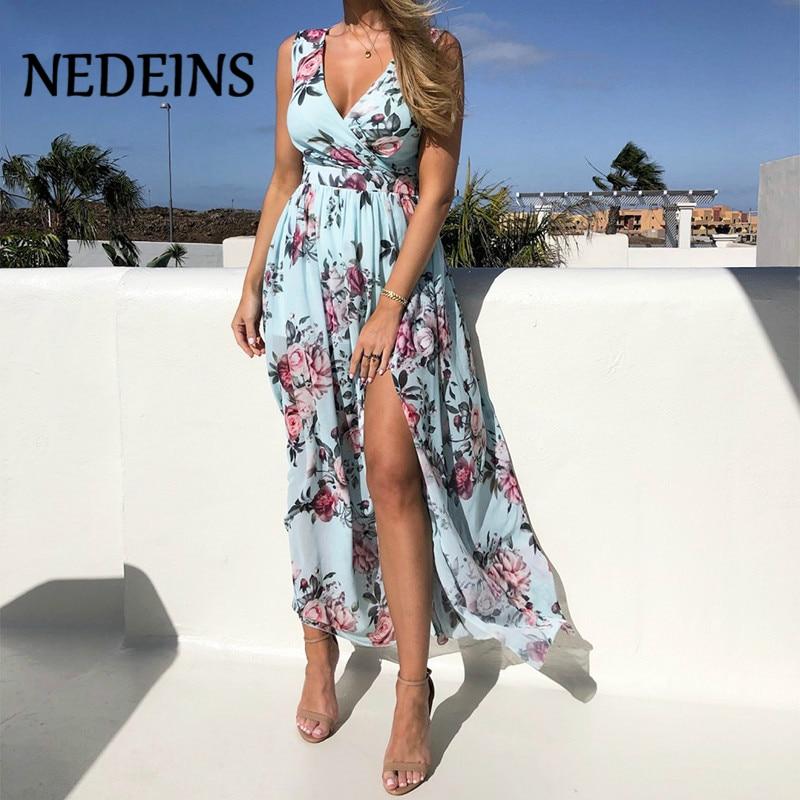 NEDEINS Women V Neck Split Dress Floral Print Long  Summer Spaghetti Strap Party Pink Chiffon Elegant Casual Maxi Dresses Beach