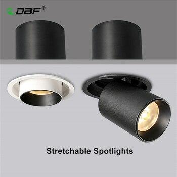 [DBF]Stretchable Recessed Ceiling Downlight 7W 10W 12W Black/White 360° Degree Rotatable 3000K/4000K/6000K Ceiling Spot Light ledron lip0906 10w y 4000k black