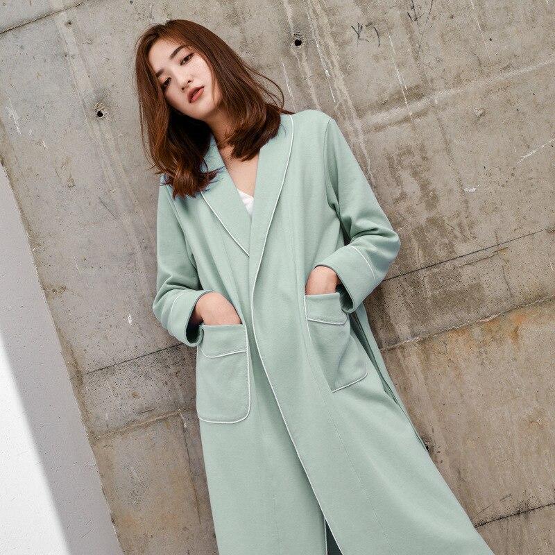 Robe de bain de luxe haut de gamme longue dame grand revers automne chemise de nuit couleur Pure tricoté coton taille-Robe de chambre rétractée