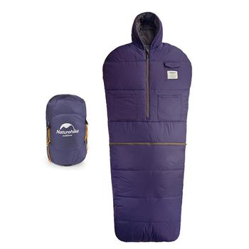 Outdoor Sleeping Bag Adult Travel Sleeping Sack Thick Warm Camping Hoodie with Zippered Holes for Arms and Feet