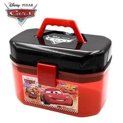 Original disney pixar carros 2 3 lightning mcqueen caixa de armazenamento portátil camadas duplas estacionamento do carro brinquedos crianças presente aniversário