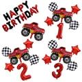 6 шт. гоночный автомобиль Blaze Monste машины для фотографий, украшение для вечеринки в честь Дня рождения, подарок для мальчика, танк-автобус, дет...