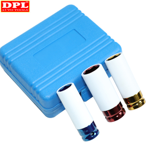 "Image 2 - 3pcs דק קיר סגסוגת גלגל אגוז שקע עמוק השפעת Socket סט 17mm 19mm 21mm 1/2 ""ד""ר"
