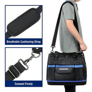"""Image 5 - WORKPRO 15 """"أداة حقيبة التخزين واسعة الفم مجموعة أدوات حقيبة 1680D مقاوم للماء أداة منظم سعة كبيرة"""