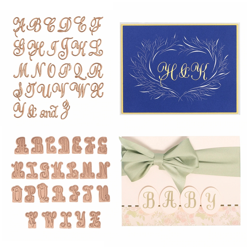 Hot Foil Plate Glimmer Copperplate A-Z Gilded Alphabet For DIY Scrapbooking  New 2019 Embossing Paper Cards Crafts