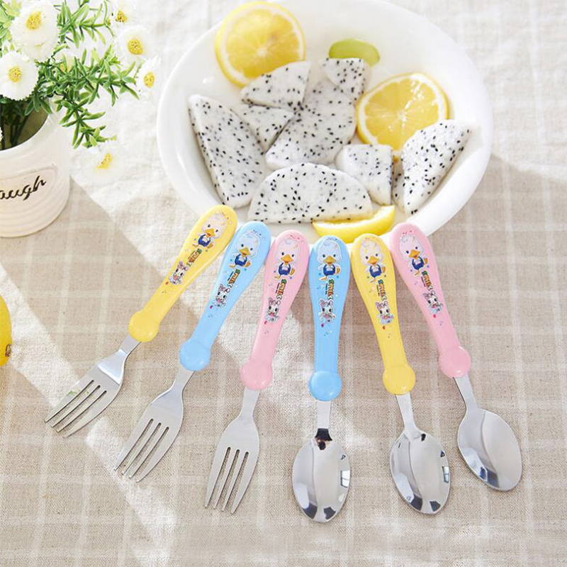 2pcs/set Print Cartoon Baby Kids Feeding Spoon + Fork High Quality Stainless Steel Baby Spoon Flatware