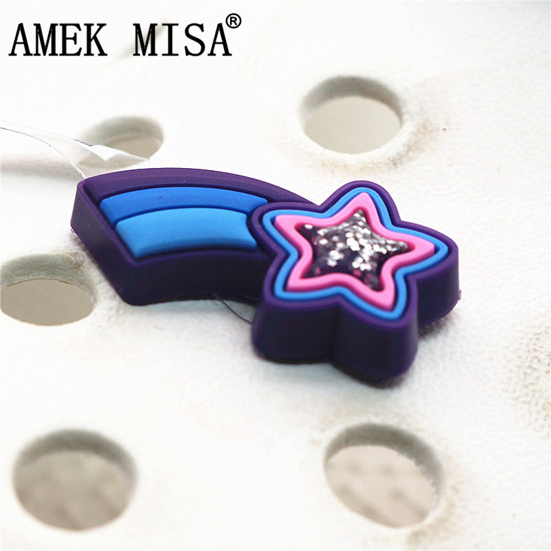 Single Sale 1pc Pentagram Shoe Decorations Meteor Style Shoe Accessories Original Shoe Buckles Accessory Fit Croc JIBZ Kids Gift