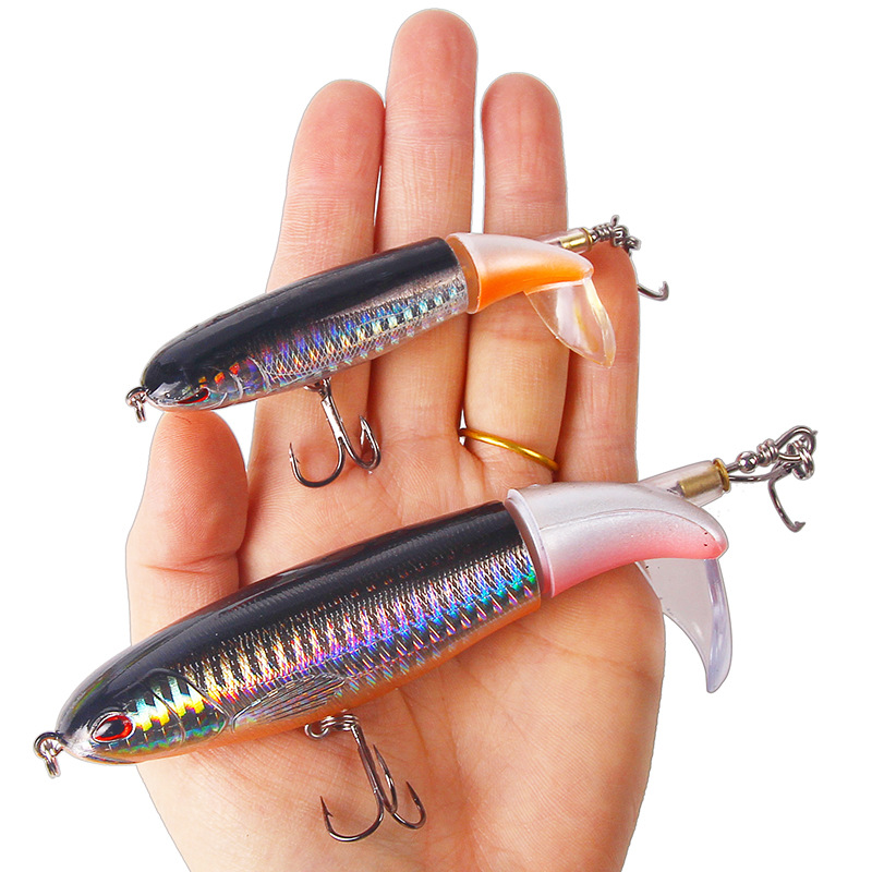1PCS Whopper Popper 10cm/14cm Topwater Fishing Lure Artificial Bait Hard Plopper Soft Rotating Tail Fishing Tackle Geer Pesca