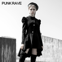 PUNK RAVE Girl's Dark Military Wind Puff Sleeves Asymmetrical Hem Waist Dress Gothic Daily Mid length Jacket Was Thin Winter