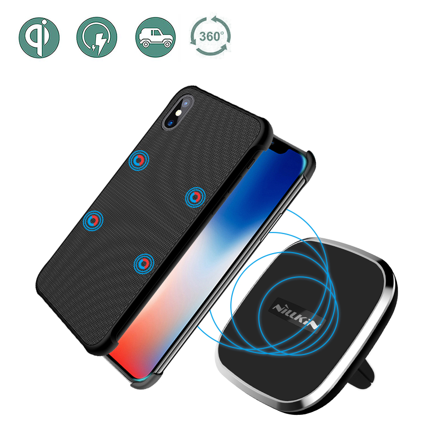 NILLKIN Car Wireless Charger Pad Portable with Magnetic Wireless Receiver Case Mount Air Vent Phone Holder For iPhone X case