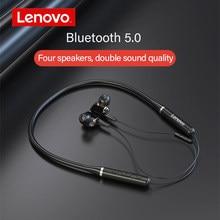 Lenovo xe66 pro dupla dinâmica neckband fones de ouvido sem fio bluetooth fone de ouvido 4 alto falantes alta fidelidade estéreo chamada hd à prova dwaterproof água com microfone