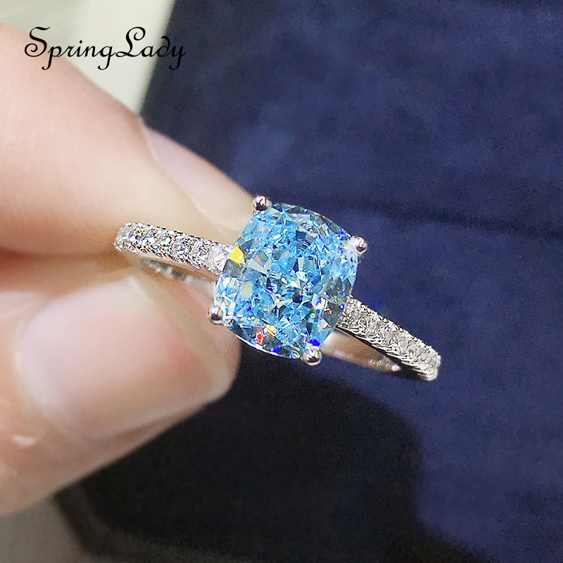 925 Sterling Silver Aquamarine Gemstone Wedding Engagement Luxury White Gold Colour Ring For Women Fine Jewelry