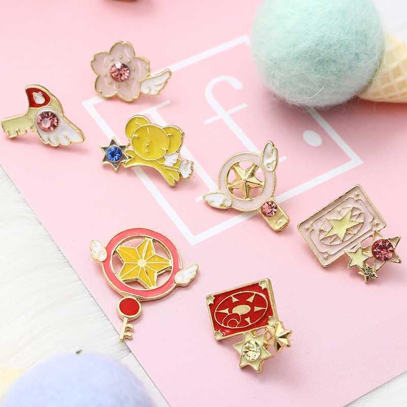 Pembe Anime simgeler broş kanatları sihirli kamışı emaye Pin kızlar için en iyi arkadaşı takı karikatür ayı metal pimler romantik kadın hediyeler