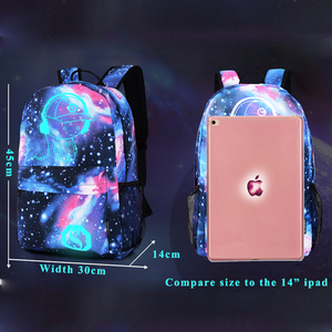Image 2 - Fashion Luminous Backpack For Men Women Oxford Anti thief School Bags For Girl Boy Student Cute USB Charge Laptop Knapsack