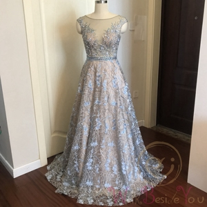 Image 3 - Blue Lace Prom Dresses 2020 Beaded Rhinestone A Line Cap Sleeves Long Sheer Neck Evening Gowns Engagement Dress Abendkleider