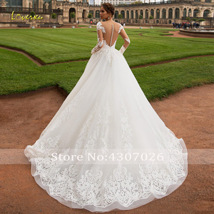 Image 2 - Loverxu Scoop Ball Gown Wedding Dresses 2019 Glamorous Applique Long Sleeve Button Bride Dress Court Train Bridal Gown Plus Size