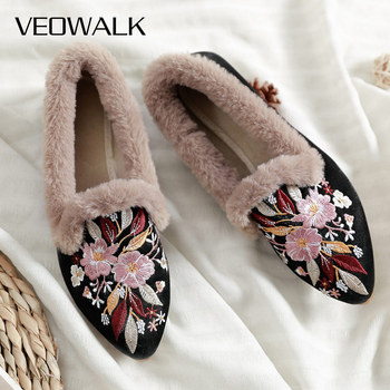 Veowalk Flowers Embroidered Women Slip on Warm Fur Flats, Winter Soft Flannel Cotton Pointed Toe Shoes Woman Fashion Ballets - discount item  60% OFF Women's Shoes