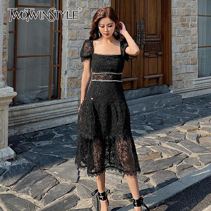 TWOTWINSTYLE Vintage Hollow Out Women Dress Square Collar Puff Short Sleeve High Waist Patchwork Lace Hit Color Dresses Female