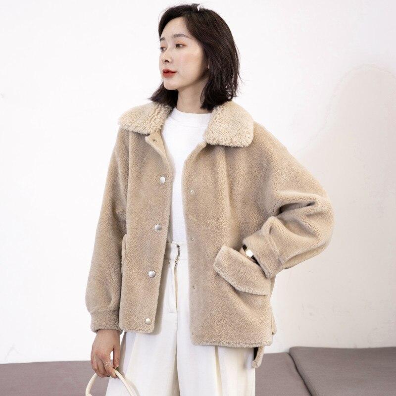 Fur Real Coat Female Lamb Fur Korean Pink Jackets 2020 Autumn Winter Jacket Women Real Wool Coats Chaqueta Mujer MY3582 S