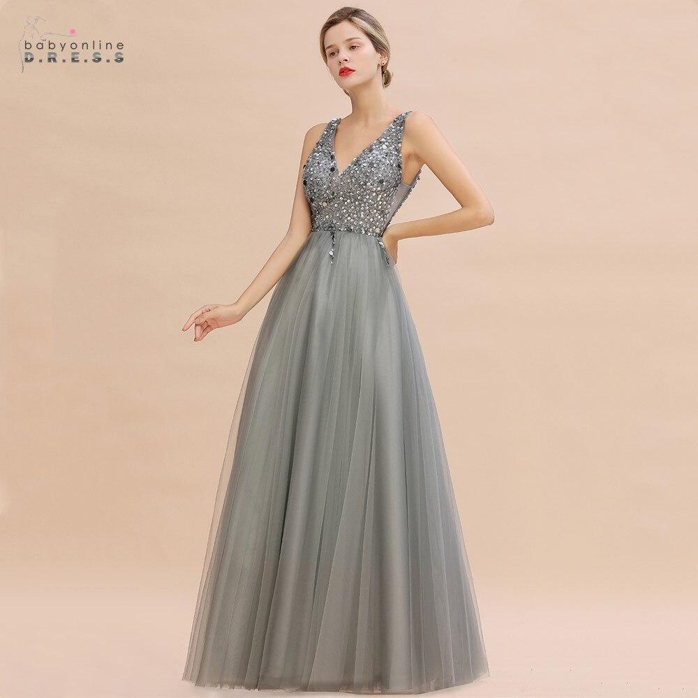 Luxo contas de prata cristais tule vestido de noite 2020 robe de soiree sexy v voltar lantejoulas vestidos de baile noite