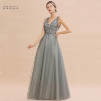 Luxury Silver Beads Crystals Tulle Evening Dress 2020 Robe De Soiree Sexy V Back Sequins Evening Prom Gowns Vestido De Festa