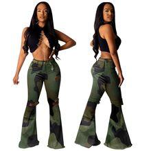 купить Autumn High Waisted Jeans Skinny Woman distressed Flare Jeans Ladies Long Camouflage Printed Pants Trousers Plus Size 3XL онлайн
