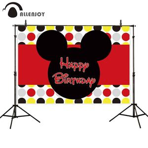 Allenjoy photo backdrop mouse theme birthday baby shower colorful dots child party banner background photozone photocall decor