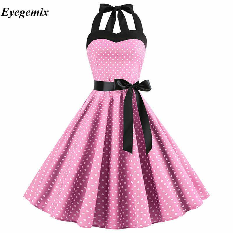 Feminino preto branco bolinhas vestido grande balanço vestidos retro robe casual baile rockabilly vestido de festa 50s 60s pinup vestidos vintage