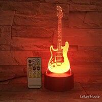 Luz nocturna en forma de guitarra 3D, interruptor de Control táctil con Control remoto, 7 colores, Led, USB, decoración de lámpara interior