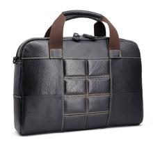 Echtes Leder Aktentasche Mens Echtes Leder Handtaschen Umhängetaschen Männer Hohe Qualität Luxus Business Messenger Taschen Laptop