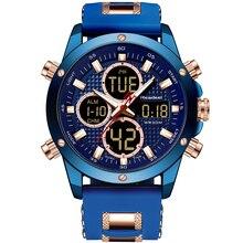 นาฬิกาผู้ชายนาฬิกา Dual Chronograph นาฬิกาผู้ชายนาฬิกายาง LED นาฬิกาควอตซ์กันน้ำแฟชั่นบุรุษ relojes