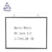 Thinyou 84 Inch 16:9 HD Projector Screen Portable White Manual Pull Down For Office Business Diagonal Aspect Ratio 4:3