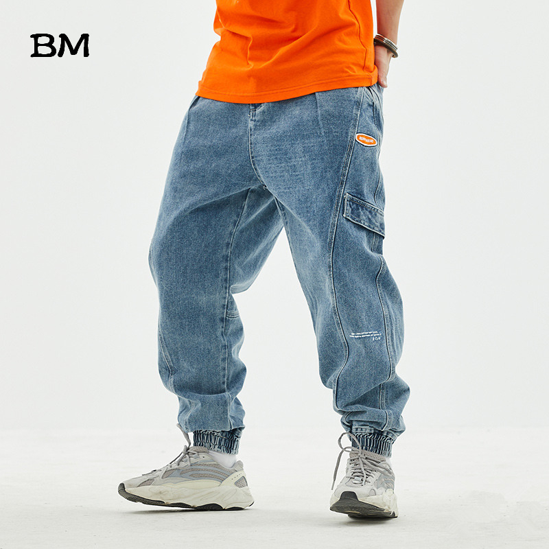 Hip Hop Jeans Men High Quality Blue Harlan Jeans Men Streetwear Korean Style Clothes Fashions Black Skateboard Pants Male