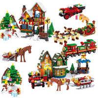 Amis noël hiver Village scène vacances ville Train renne Legoinglys amis 10259 blocs de construction père noël jouets