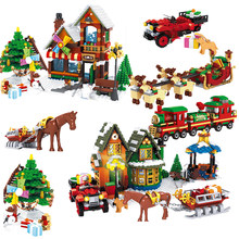 friends Christmas Winter Village Scene Holiday City Train Reindeer Legoinglys Friends 10259 Building Blocks Santa Claus Toys(China)