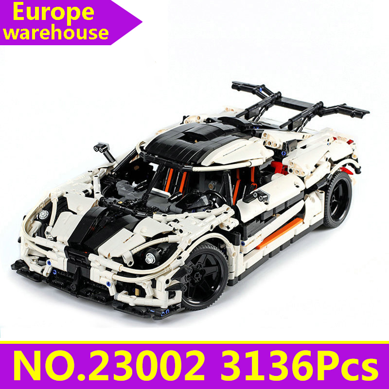 <font><b>23002</b></font> Super Sports Racing Car Model Building Blocks Set Lepinblocks Technic Car Toys For Children Christmas Gift King Bricks image
