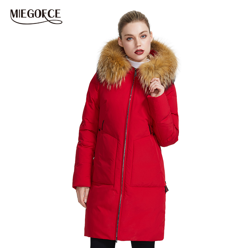 MIEGOFCE 2019 New Winter Collection Jacket Women Winter   Parka   With a Fur Hood Patch Pocket Women Coat different unusual colors