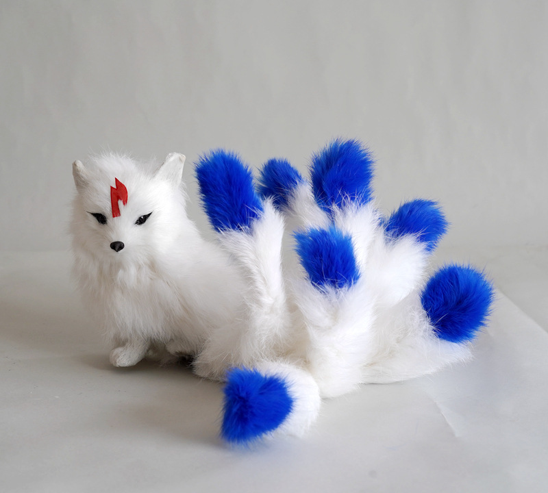 new white nine-tails fox model plastic&fur real life blue tail fox doll gift about 30x9x14cm