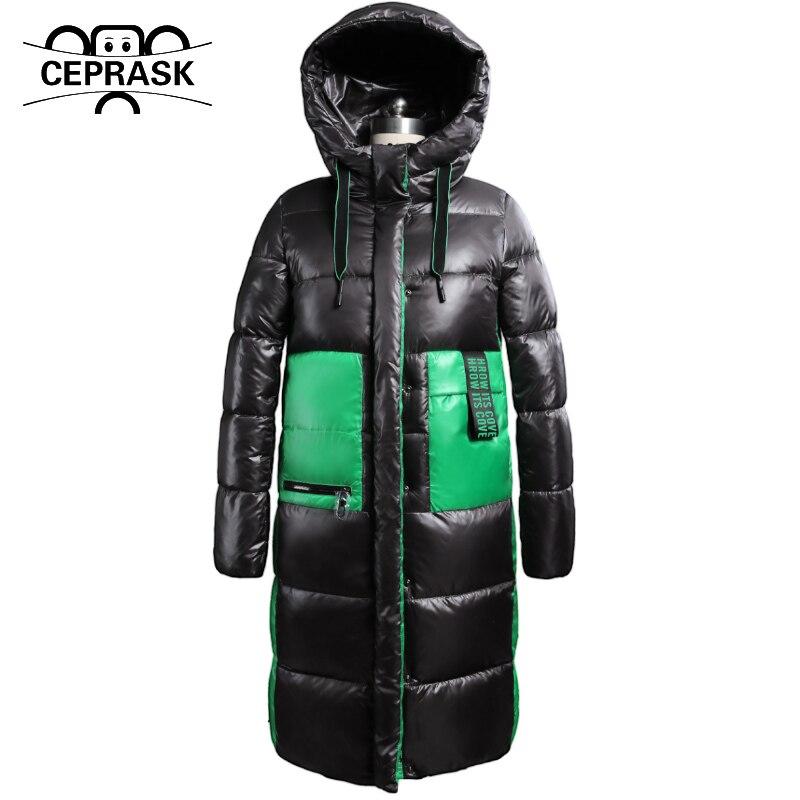CEPRASK 2021 New Winter Jacket Women Plus Size Long Fashion Female Winter Coat Hooded High Quality Warm Down Jacket Parkas