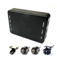 Araba çoklu kameraları görüntü anahtarı kontrol kutusu 2/4 kameralar için ön/arka/sol/sağ görünüm park kamerası sistemi video desteği DVR