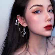 Brincos de borboleta gótico kolczyki para mulher egirl dangle borla legal chique cor prata estética jóias endientes mujer moda