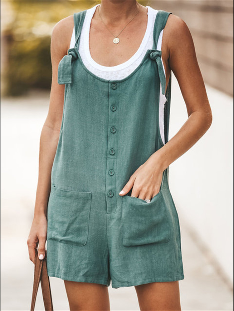 Plus Size 3XL Women Cotton Linen Jumpsuit Pocket Wide Leg Rompers Strappy Dungaree Bib Overalls Casual Loose Solid Playsuit