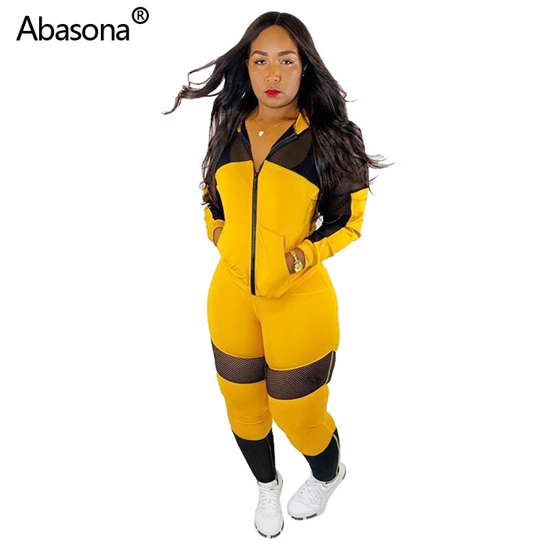 Abasona New Mesh Patchwork Zipper Up Trench Ankle Length Pants With Elastic Waist Suit Two Piece Set Fashion Sporting Outfit