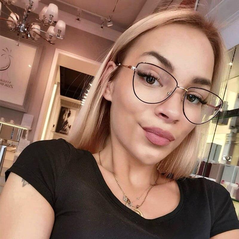 2019 New Fashion Cat Eye Woman Glasses Optical Metal Clear Lens Eye Glass Frame For Women Transparent Eyeglasses Computer