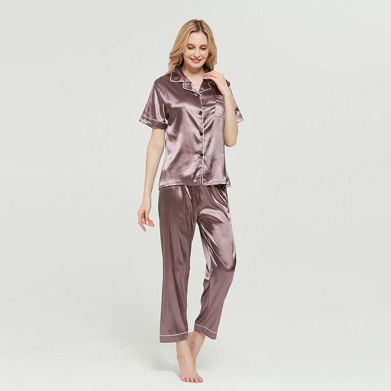 Spring Pajama Sets Faux Silk Pijama Sexy Satin Sleepwear Women Summer Large Size Pyjama Femme Sleep