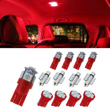 100% marca 13 Uds coche rojo luces LED Kit de paquete de interiores para Domo lámpara de placa de matrícula bombillas(China)