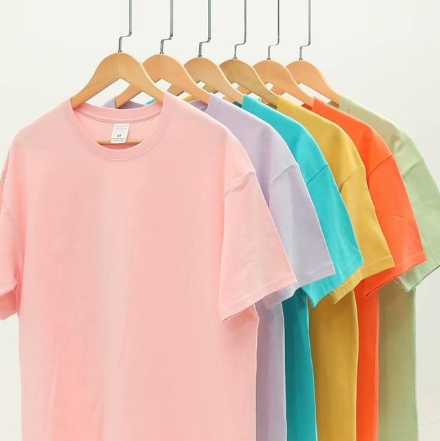 -Top de manga curta das mulheres T-shirt causal O-pescoço T-shirt básica 95% algodão T-shirt da cor de doces Verão cor sólida solta das mulheres T- 1