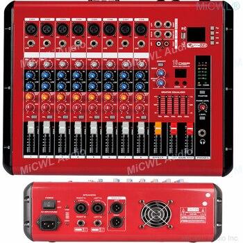 AMPLIFICADOR DE POTENCIA MiCWL 1000W, mezclador de 8 canales, consola mezcladora DSP USB 48V Phantom Bluetooth, preamplificadores rojos, mezclador de sonido 110V o 220V
