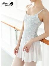 Koronkowe haftowane gimnastyczne trykotowe dorosła kobieta taniec Body podstawowe trykoty baletowe ze spódnicami profesjonalne Tutu