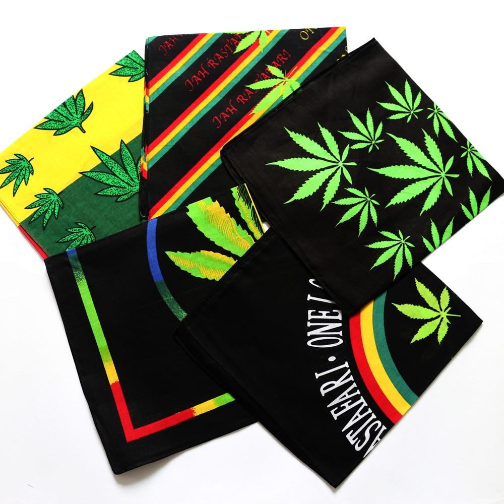 Rasta Style Reggae Music Leaves Cotton Bandana Men Pocket Square Scarf Sports Cycling Mask Hip Hop Headband Handband